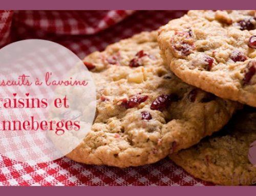 Biscuits à l'avoine, raisins et canneberges