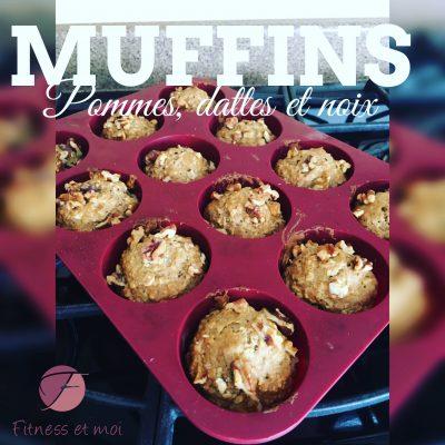 Muffins aux pommes, dattes et noix