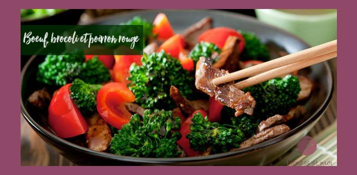 Boeuf, brocoli et poivron rouge